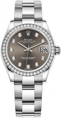 Rolex Datejust 31mm Stainless Steel 278384rbr Dark Grey Diamond Oyster