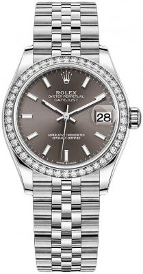 Rolex Datejust 31mm Stainless Steel 278384rbr Dark Grey Index Jubilee