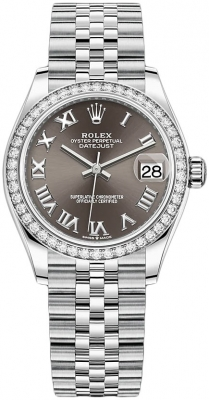 Rolex Datejust 31mm Stainless Steel 278384rbr Dark Grey Roman Jubilee