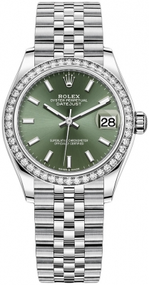 Rolex Datejust 31mm Stainless Steel 278384rbr Mint Green Index Jubilee