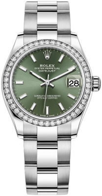 Rolex Datejust 31mm Stainless Steel 278384rbr Mint Green Index Oyster