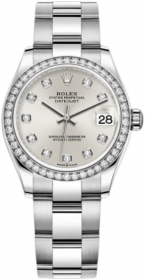 Rolex Datejust 31mm Stainless Steel 278384rbr Silver Diamond Oyster