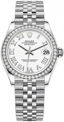 Rolex Datejust 31mm Stainless Steel 278384rbr White Roman Jubilee