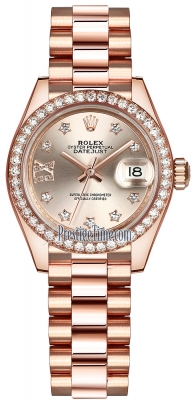 Rolex Lady Datejust 28mm Everose Gold 279135RBR Sundust 17 Diamond President