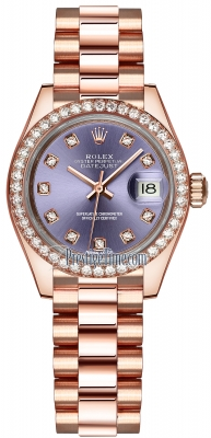 Rolex Lady Datejust 28mm Everose Gold 279135RBR Aubergine Diamond President