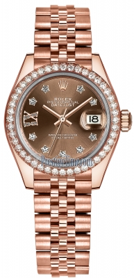 Rolex Lady Datejust 28mm Everose Gold 279135RBR Chocolate 17 Diamond Jubilee