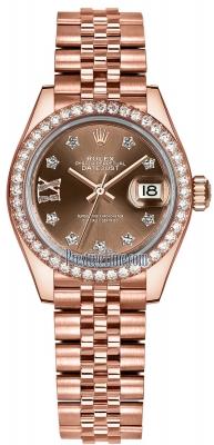 Rolex Lady Datejust 28mm Everose Gold 279135RBR Chocolate 17 Diamond Jubilee