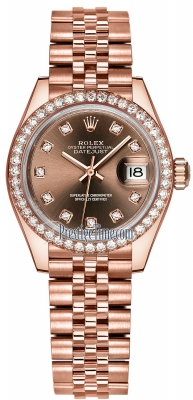 Rolex Lady Datejust 28mm Everose Gold 279135RBR Chocolate Diamond Jubilee