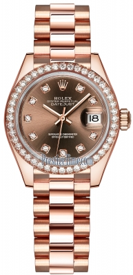 Rolex Lady Datejust 28mm Everose Gold 279135RBR Chocolate Diamond President
