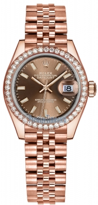 Rolex Lady Datejust 28mm Everose Gold 279135RBR Chocolate Index Jubilee