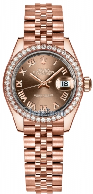 Rolex Lady Datejust 28mm Everose Gold 279135RBR Chocolate Roman Jubilee