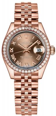 Rolex Lady Datejust 28mm Everose Gold 279135RBR Chocolate Roman Jubilee
