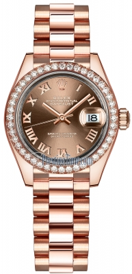 Rolex Lady Datejust 28mm Everose Gold 279135RBR Chocolate Roman President