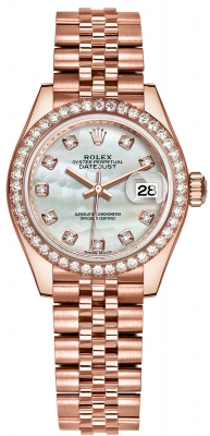 Rolex Lady Datejust 28mm Everose Gold 279135RBR MOP Diamond Jubilee