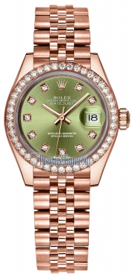Rolex Lady Datejust 28mm Everose Gold 279135RBR Olive Green Diamond Jubilee