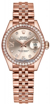 Rolex Lady Datejust 28mm Everose Gold 279135RBR Sundust 17 Diamond Jubilee