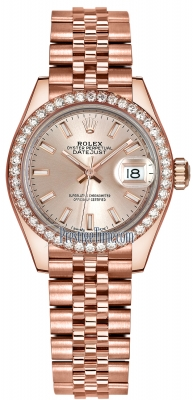 Rolex Lady Datejust 28mm Everose Gold 279135RBR Sundust Index Jubilee