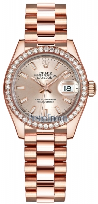 Rolex Lady Datejust 28mm Everose Gold 279135RBR Sundust Index President