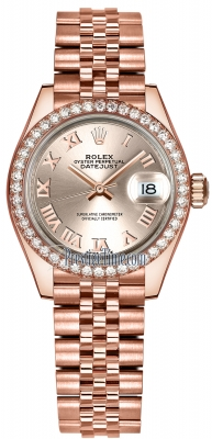 Rolex Lady Datejust 28mm Everose Gold 279135RBR Sundust Roman Jubilee
