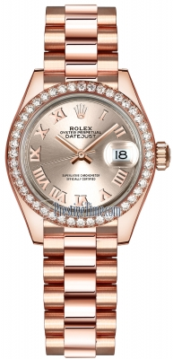 Rolex Lady Datejust 28mm Everose Gold 279135RBR Sundust Roman President
