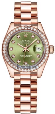 Rolex Lady Datejust 28mm Everose Gold 279135RBR Olive Green Diamond President