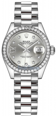 Rolex Lady Datejust 28mm Platinum 279136RBR Silver 17 Diamond President