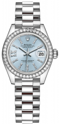 Rolex Lady Datejust 28mm Platinum 279136RBR Ice Blue 44 Diamond President