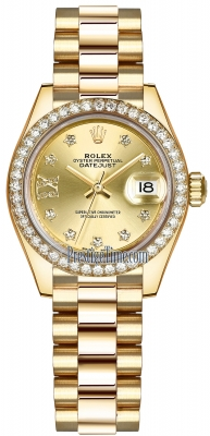 Rolex Lady Datejust 28mm Yellow Gold 279138RBR Champagne 17 Diamond President