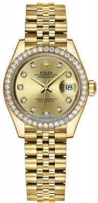 Rolex Lady Datejust 28mm Yellow Gold 279138RBR Champagne Diamond Jubilee