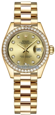 Rolex Lady Datejust 28mm Yellow Gold 279138RBR Champagne Diamond President