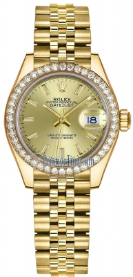 Rolex Lady Datejust 28mm Yellow Gold 279138RBR Champagne Index Jubilee