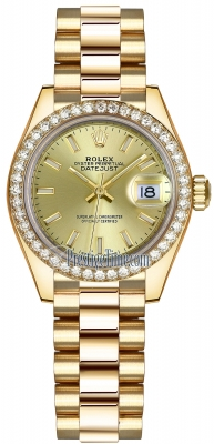 Rolex Lady Datejust 28mm Yellow Gold 279138RBR Champagne Index President