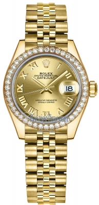 Rolex Lady Datejust 28mm Yellow Gold 279138RBR Champagne Roman Jubilee