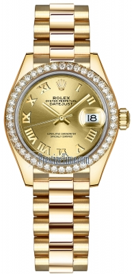 Rolex Lady Datejust 28mm Yellow Gold 279138RBR Champagne Roman President