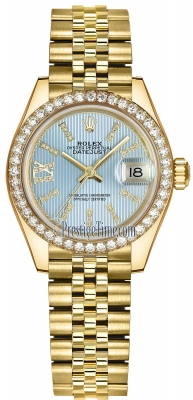 Rolex Lady Datejust 28mm Yellow Gold 279138RBR Cornflower Blue 44 Diamond Jubilee