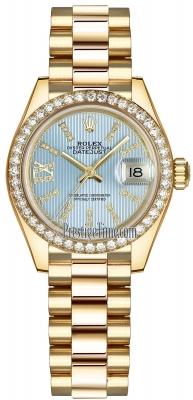 Rolex Lady Datejust 28mm Yellow Gold 279138RBR Cornflower Blue 44 Diamond President