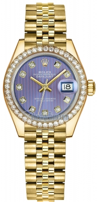 Rolex Lady Datejust 28mm Yellow Gold 279138RBR Lavender Diamond Jubilee
