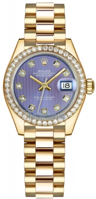 Rolex Lady Datejust 28mm Yellow Gold 279138RBR Lavender Diamond President