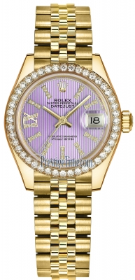Rolex Lady Datejust 28mm Yellow Gold 279138RBR Lilac 44 Diamond Jubilee