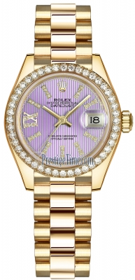 Rolex Lady Datejust 28mm Yellow Gold 279138RBR Lilac 44 Diamond President