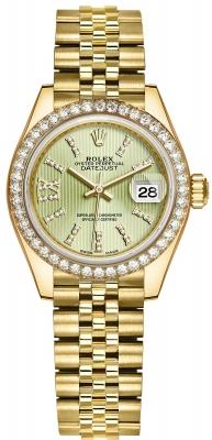 Rolex Lady Datejust 28mm Yellow Gold 279138RBR Linden Green 44 Diamond Jubilee