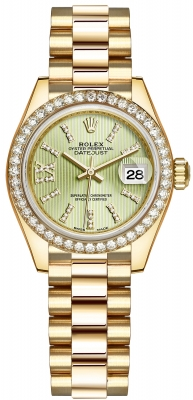 Rolex Lady Datejust 28mm Yellow Gold 279138RBR Linden Green 44 Diamond President