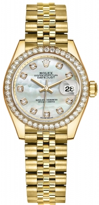 Rolex Lady Datejust 28mm Yellow Gold 279138RBR MOP Diamond Jubilee
