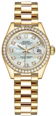 Rolex Lady Datejust 28mm Yellow Gold 279138RBR MOP Diamond President