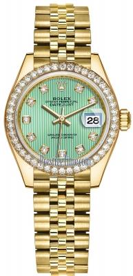 Rolex Lady Datejust 28mm Yellow Gold 279138RBR Mint Green Diamond Jubilee