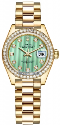 Rolex Lady Datejust 28mm Yellow Gold 279138RBR Mint Green Diamond President