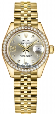 Rolex Lady Datejust 28mm Yellow Gold 279138RBR Silver 17 Diamond Jubilee