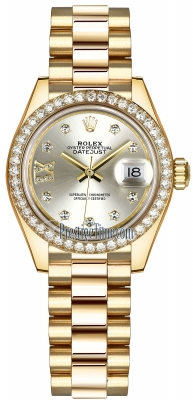 Rolex Lady Datejust 28mm Yellow Gold 279138RBR Silver 17 Diamond President