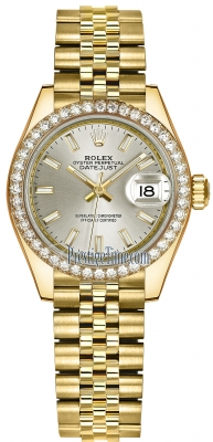 Rolex Lady Datejust 28mm Yellow Gold 279138RBR Silver Index Jubilee