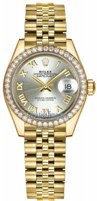 Rolex Lady Datejust 28mm Yellow Gold 279138RBR Silver Roman Jubilee